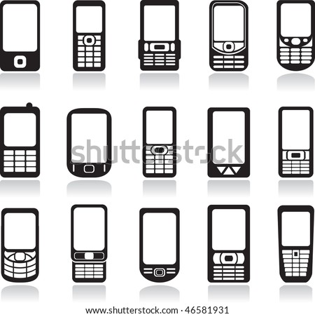 Mobile phone icons set. Vector - stock vector