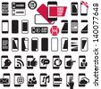 Mobile phone icons. Smart phones set. Mobile phone shop signs collection. - stock vector