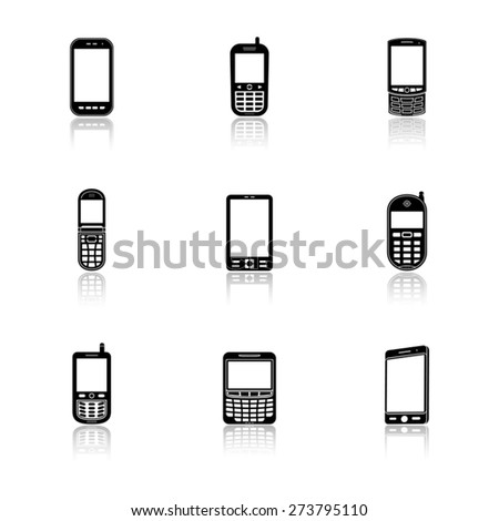 Mobile phone icons with reflection - stock vector