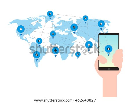 Mobile phone hand world map global stock vector 462648829 shutterstock mobile phone in a hand world map global communication technology concept vector illustration gumiabroncs Choice Image