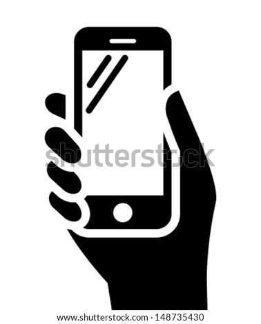 Mobile phone in hand icon - stock vector