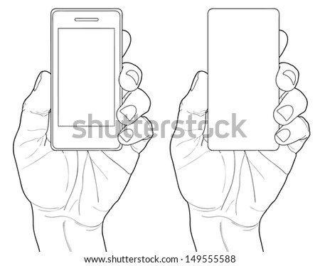 Mobile phone in the hand isolated on white - stock vector