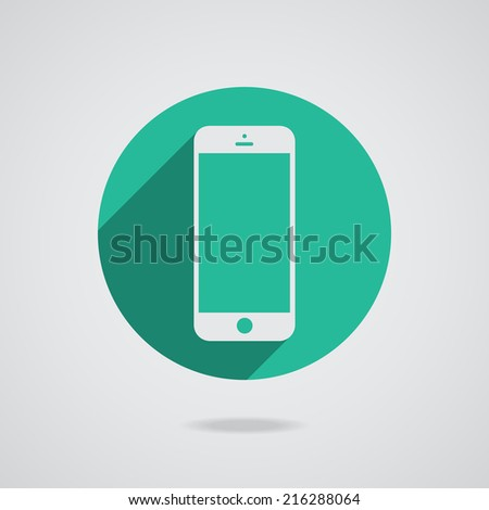 Mobile phone in white line with blank screen isolated on white background. Vector illustration EPS10 - stock vector