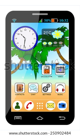 Mobile phone interface. Black smartphone with the beach wallpaper, and various icons and widgets, weather, clock... detailed cartoon design, vector art image illustration, isolated on white background - stock vector