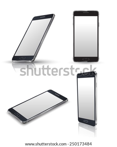 Mobile phone isolated on white. Realistic  smartphones vector set. Vector illustration. - stock vector