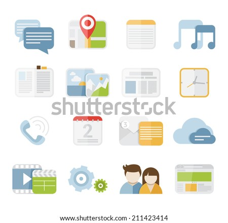 Mobile phone isolated vector colorful icon set in flat design style - stock vector
