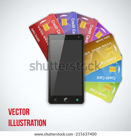 Mobile phone lies on Credit Cards. Electronic wallet an purse. Payment system and mobile technology. Vector Illustration isolated on white background. - stock vector