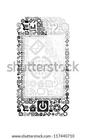 Mobile phone made from application icons. Vector illustration on white background - stock vector