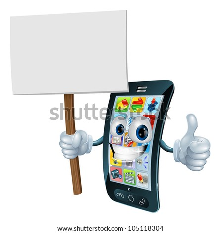 Mobile phone mascot character holding an announcement board sign smiling and doing a thumbs up gesture - stock vector