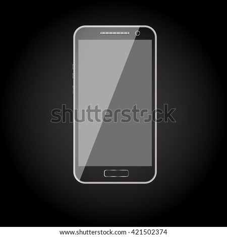 Mobile phone. Mobile phone vector. Mobile phone art. Isolated mobile phone. Black mobile phone. Black mobile phone with touchscreen. Mobile phone technology.  - stock vector