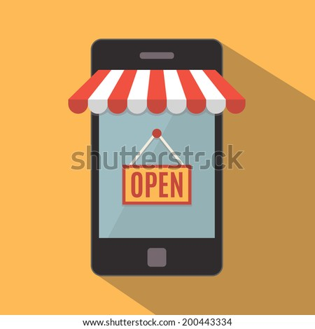 Mobile phone. Mobile store concept. Vector illustration - stock vector