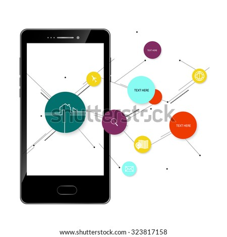 mobile phone Modern wireless technology and social media vector - stock vector