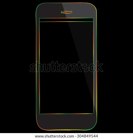 Mobile Phone Multicolored Icon isolated on black background. - stock vector