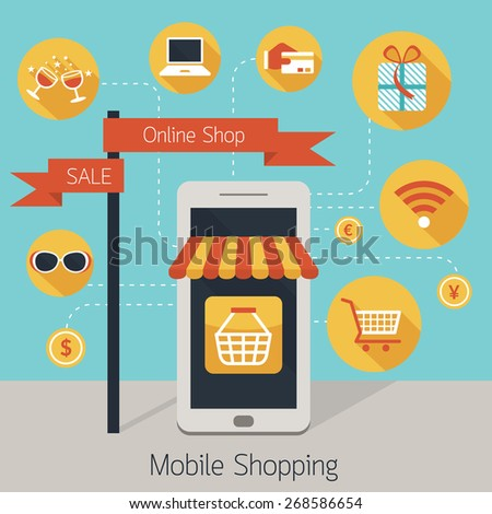 Mobile Phone Online Shop with Icons, Internet Connection, Online Shopping, E Commerce Concept - stock vector