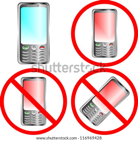 Mobile phone prohibition sign over white background - stock vector
