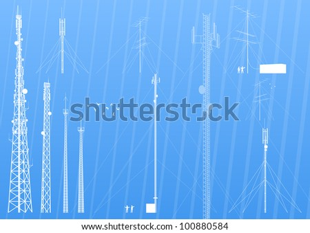 Mobile phone, radio, television, internet and army industrial broadcasting antennas silhouettes illustration collection background vector - stock vector