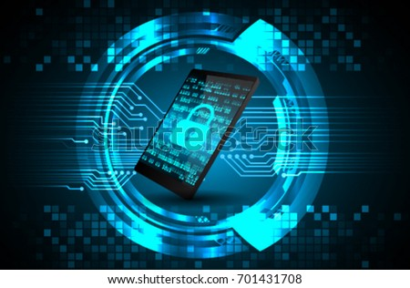 mobile phone, Safety concept, Closed Padlock on digital, cyber security
