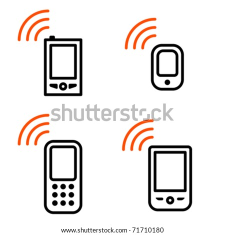 Mobile phone set. Icons are aligned according to the pixel grid. It means that the images are prepared to use in small-sizes. It's specifically for the Web. - stock vector