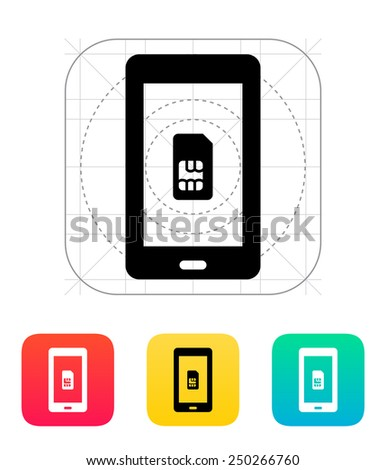 Mobile phone SIM card icon. Vector illustration. - stock vector