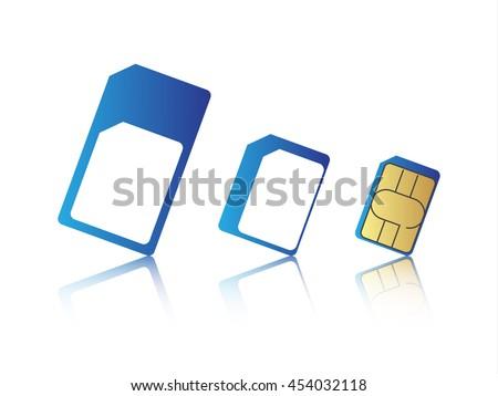 Mobile phone sim card set, standard, micro and nano sim card, vector illustration - stock vector
