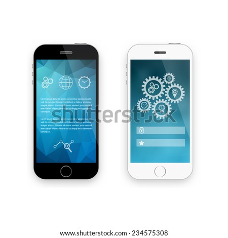 Mobile phone smartphone collection on white background. Vector illustration. - stock vector