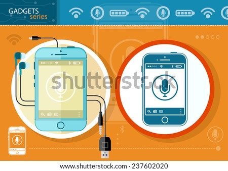 Mobile phone smartphone wireless communication technology and mobility business office concept. Touchscreen smartphones with  microphone icon and buttons isolated on stylish background. Gadgets series - stock vector
