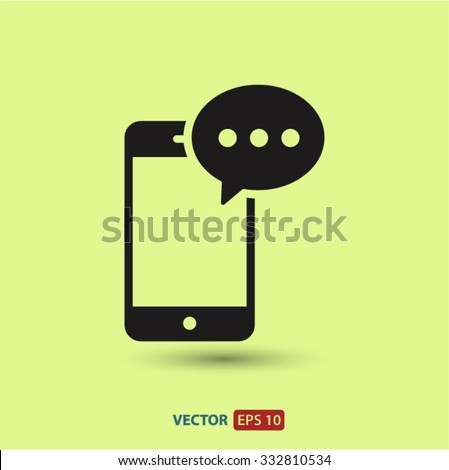 Mobile phone sms icon. One of set web icons - stock vector