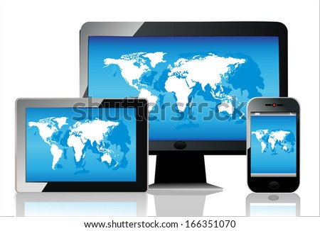 Mobile phone, tablet pc and computer. World map vector