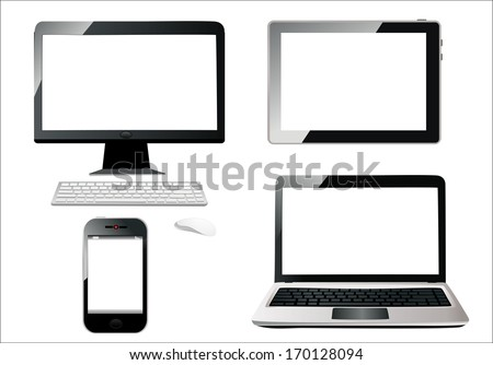 Mobile phone, tablet pc, notebook and computer. - stock vector