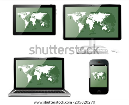 Mobile phone, tablet PC, notebook and computer with world map - stock vector