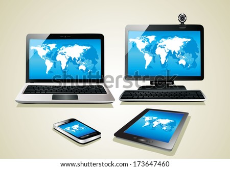 Mobile phone, tablet pc, notebook and computer. World map - stock vector