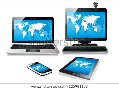 Mobile phone, tablet pc, notebook and computer. World map vector - stock vector