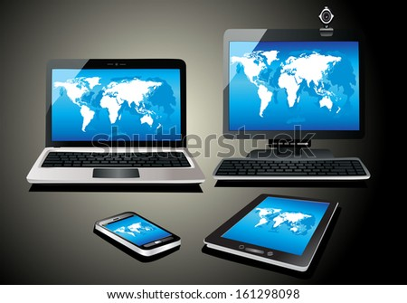 Mobile phone, tablet pc, notebook and computer. World map vector