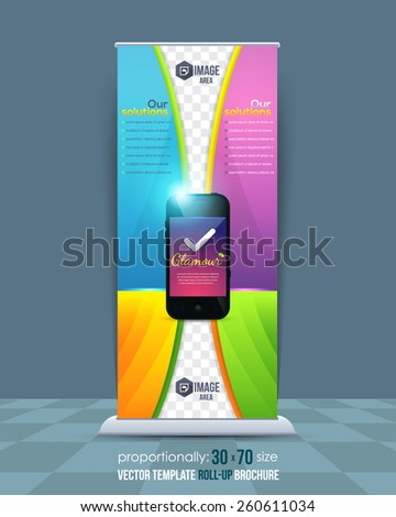 Mobile Phone Technology Theme Roll-Up Banner Design, Ad Vector Template - stock vector