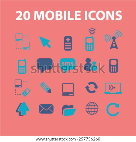 mobile phone, telephone, cell, smartphone, technology, gadget, communicator, connection, contact, wireless, message, call, service, chat icons, signs vector concept set
