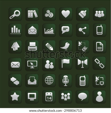 mobile phone, telephone, cell, smartphone, technology, gadget, communicator, connection, contact, wireless, message, call, service, chat interface icons, signs, glossy buttons, vector concept set