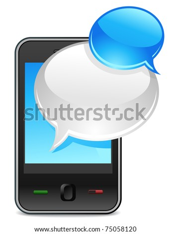 mobile phone text message balloons or chat box- vector icon - stock vector