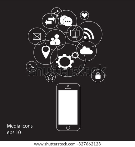 mobile phone vector with social media icons chalk