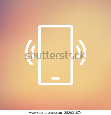 Mobile phone vibrating icon thin line for web and mobile, modern minimalistic flat design. Vector white icon on gradient mesh background. - stock vector