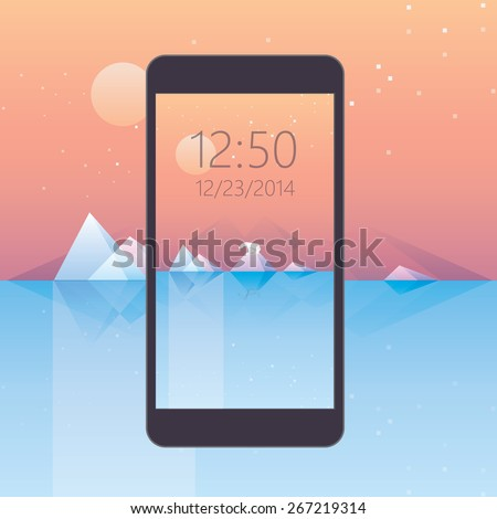 mobile phone wallpaper- low poly design, arctic landscape with polar bear standing on a glacier surface, icebergs reflecting on the calm ocean water. Sunset with stars scenery. Global warming concept - stock vector