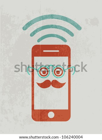 Mobile phone wearing glasses. Geek concept. - stock vector
