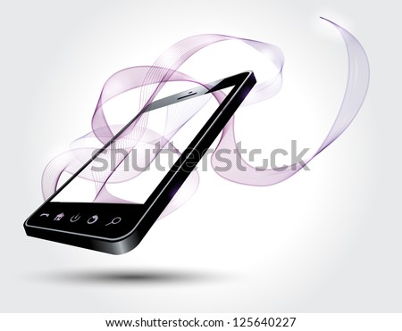 Mobile phone with abstract lines