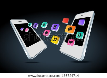 Mobile phone with app icons vector illustration - stock vector