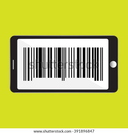 Mobile phone with barcode icon vector illustration