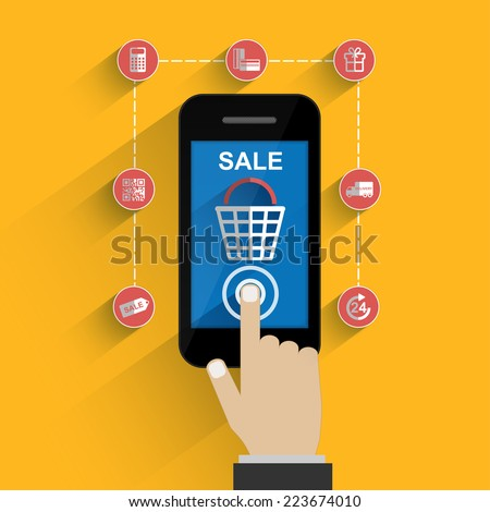 Mobile phone with buy button on the screen - stock vector