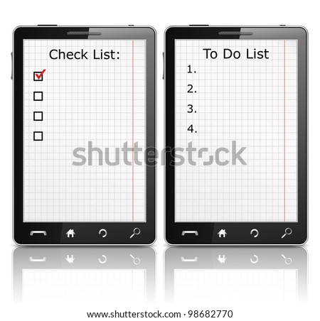 Mobile phone with check list and todo list, vector eps10 illustration - stock vector