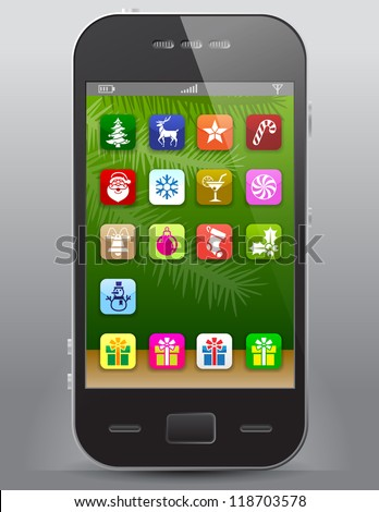 Mobile phone with christmas icons. Front view of smart phone with christmas symbols like apps icons - stock vector