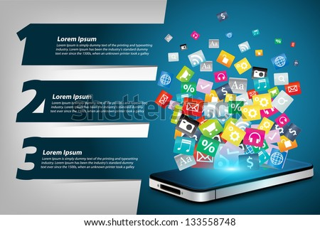 Mobile phone With Colorful application icon concept, With Modern Design template / infographics / numbered banners, Vector illustration presentations with letters numbers - stock vector