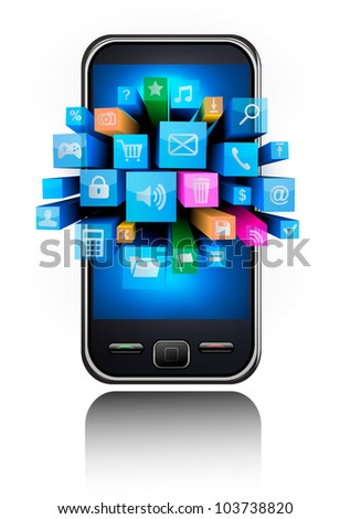 Mobile phone with colorful icons.. Vector. - stock vector