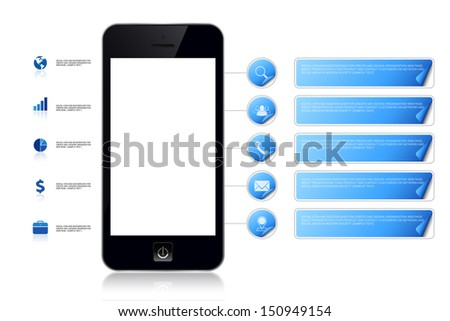 Mobile phone with empty screen area for copy space and multimedia icon and label background for organization present and contact - Vector illustration - stock vector